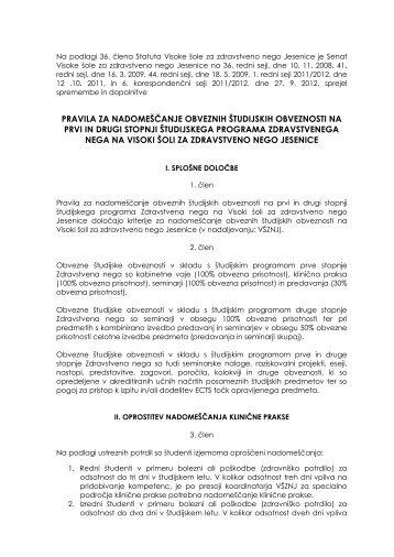 Pravila za nadomeščanje obveznih študijskih obveznosti na prvi in ...