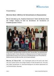 4.000 Euro für Schulschweine im Klassenzimmer - Münchner Bank eG