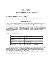 CHAPITRE 2 LA REPRÉSENTATION DES DONNÉES - UQAC