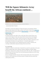 Will the Square Kilometre Array benefit the African continent… - SKA