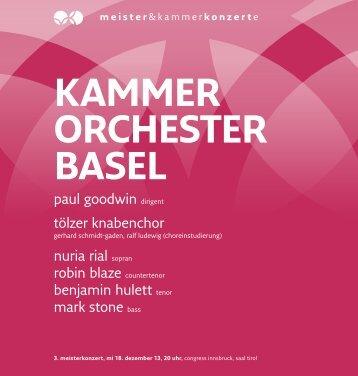 kammer orchester basel - Meister & Kammerkonzerte