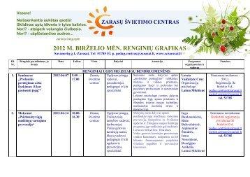 2012 m. birželio mėnesio renginiai - Zarasų švietimo centras