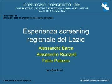 A. Barca - Gruppo Italiano Screening ColoRettale