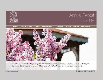 Annual Report – 2008 - Hospice of the Western Reserve
