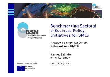Benchmarking Sectoral e-Business Policy Initiatives for SMEs - Idate