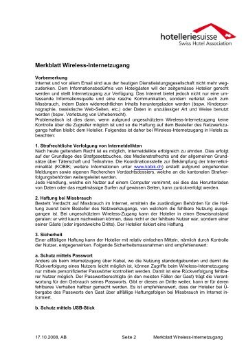 Merkblatt Wireless-Internetzugang