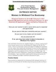 OUTREACH NOTICE Women in Wildland Fire Bootcamp