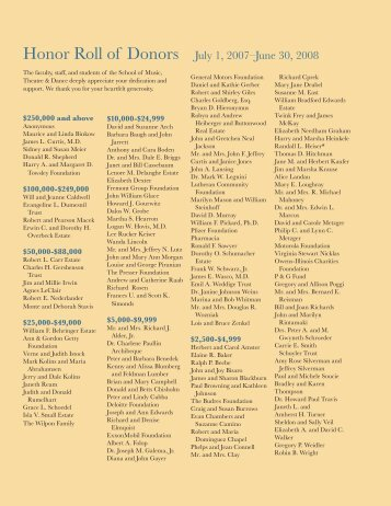 Honor Roll of Donors - University of Michigan School of Music
