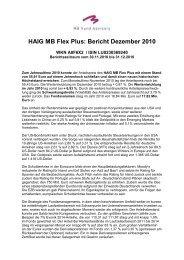 HAIG MB Flex Plus: Bericht Dezember 2010 - MB Fund Advisory