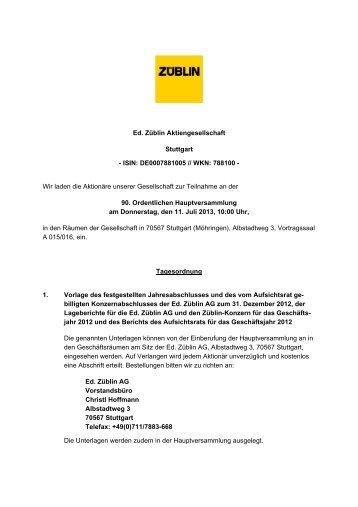 Einladung zur Hauptversammlung 2013 - Ed. Züblin AG