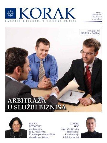 ARBITRAŽA U SLUŽBI BIZNISA - Privredna komora Srbije