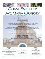 Quasi-Parish of Ave Maria Oratory