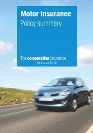 Motor Insurance Policy summary - The Co-operative Insurance