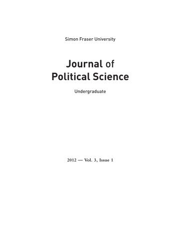 Journal of Political Science - PSSU - Political Science Student Union