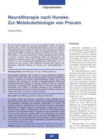 Neuraltherapie nach Huneke. Zur Molekularbiologie von Procain