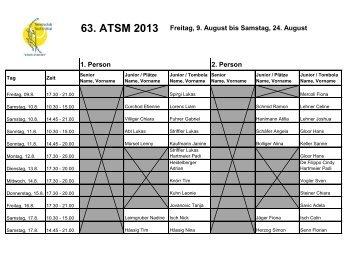 63. ATSM 2013 Freitag, 9. August bis Samstag, 24. August 1. Person ...