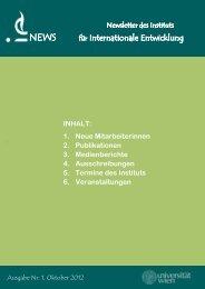 Newsletter Nr. 1 (Oktober 2012) - Institut für Internationale Entwicklung