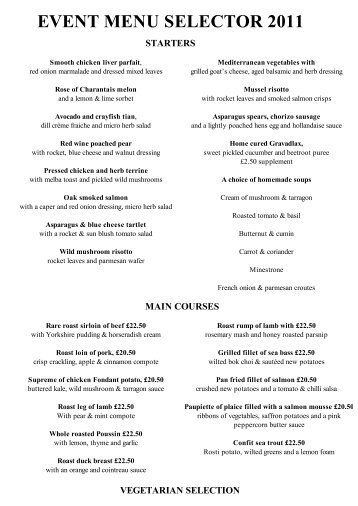 event lunch menu selector 2011 - Best Western Wroxton House Hotel
