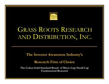 Cohen Research - Grass Roots Research* and Distribution, Inc.