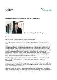 Generalforsamling i Genmab den 17. april 2013 - ATP