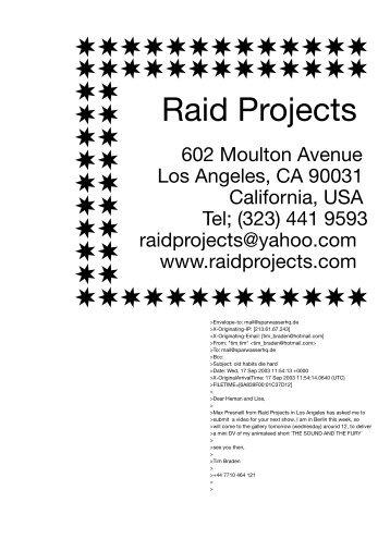 Raid Projects (Los Angeles, USA) - Sparwasser HQ