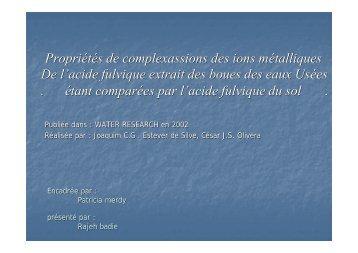 Propriétés de complexassions des ions métalliques De l'acide ...