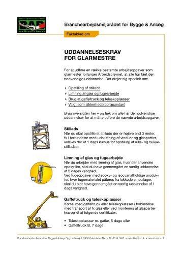 Faktablad om uddannelseskrav for glarmestre - BAR Bygge & Anlæg