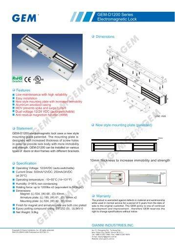 GEM-D1200 Series Electromagnetic Lock - GEM,Gianni Industries, Inc.