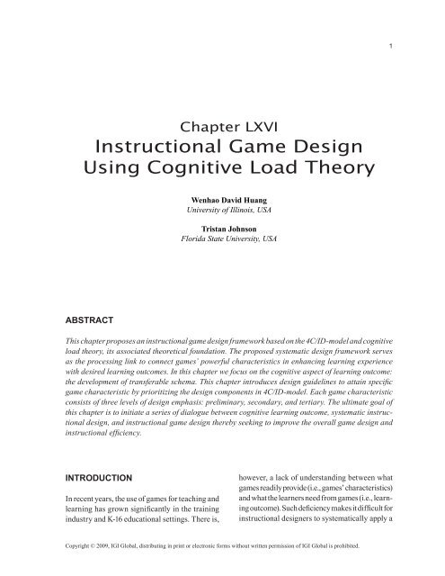 Instructional Game Design Using Cognitive Load Theory