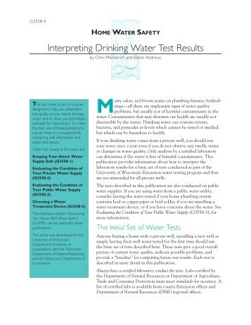 Interpreting Drinking Water Test Results - The Learning Store ...