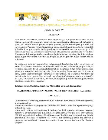 Vol. 4, N° 3. Año 2000 MORTALIDAD MATERNA Y PERINATAL ...
