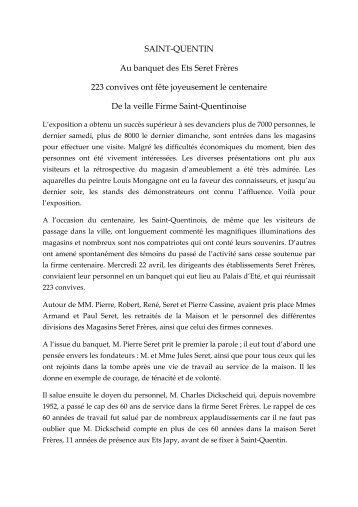 SAINT-QUENTIN Au banquet des Ets Seret Frères 223 convives ont ...