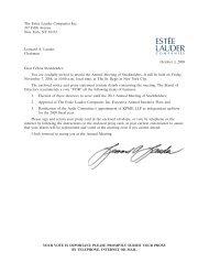 The Estee Lauder Companies Inc. 2008 Proxy Statement