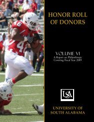 HONOR ROLL OF DONORS - University of South Alabama