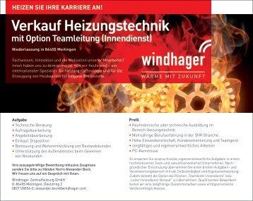 """Stellenanzeige """"Verkauf Heizungstechnik"""" - Windhager"""