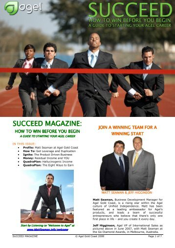 SUCCEED MAGAZINE MAGAZINE MAGAZINE: - I am Matt Seaman