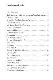 Inhaltsverzeichnis »stadtgeschichten aus Bad Segeberg - Epv-Verlag