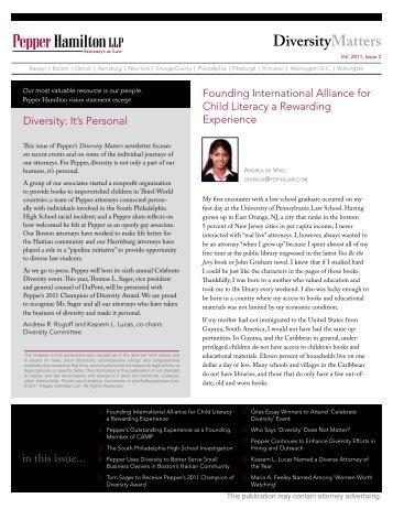 Diversity Matters - Vol. 2011, Issue 2 - Pepper Hamilton LLP