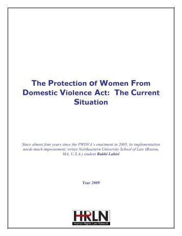 The Protection of Women From Domestic Violence Act: The Current ...