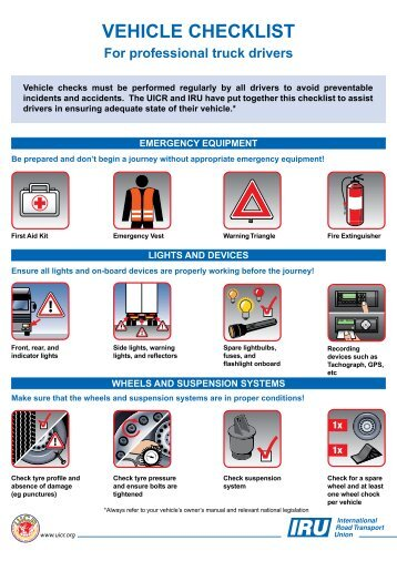 VEHICLE CHECKLIST For professional truck drivers - IRU