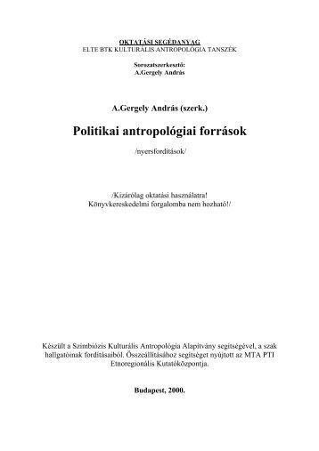 Politikai antropológiai források - MEK