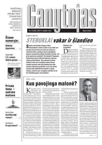 Nr. 12 (253) 2007 m. birželio 23 d. - Krikščionių bendrija TIKĖJIMO ...