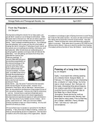 Soundwaves April 2007 - Vintage Radio and Phonograph Society