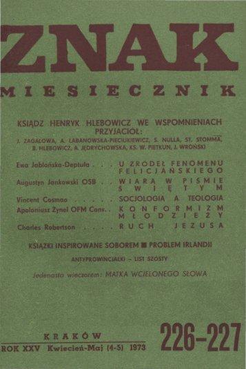 Nr 226-227, kwiecień-maj 1973 - Znak