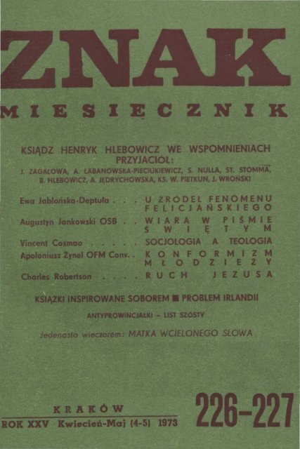 Nr 226 227 Kwiecieå Maj 1973 Znak