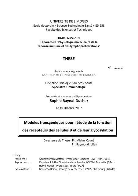 Modèles transgéniques pour l'étude de la fonction ... - Epublications