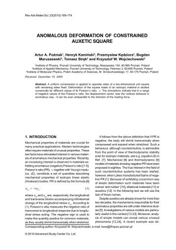 anomalous deformation of constrained auxetic square - Institute of ...