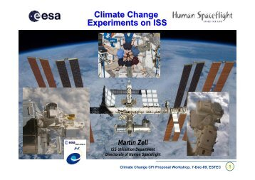Climate Change Experiments on ISS - Esa