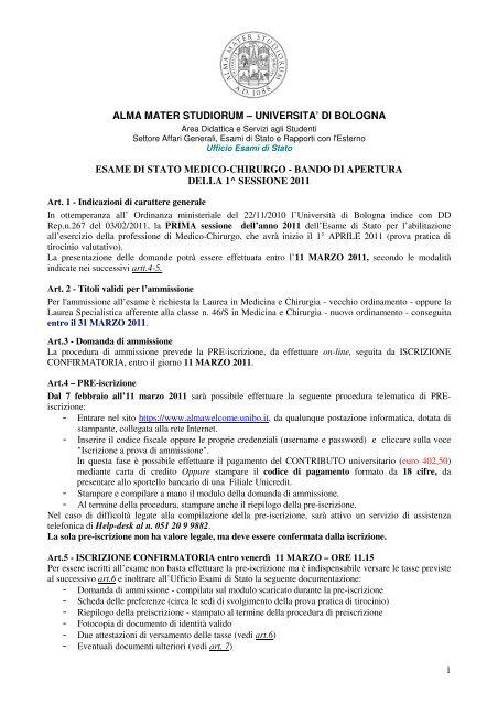 alma mater studiorum – universita' di bologna ... - Ordinemedici.bz.it