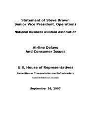 Testimony of Steve Brown, Senior Vice President, Operations - NBAA